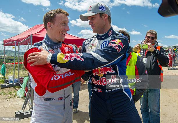 Kris Meeke of Great Britan it is greeted by Andreas Mikkelsen of Norway at the end of the SS 19 Fafe of the WRC Portugal on May 22 2016 in Fafe...