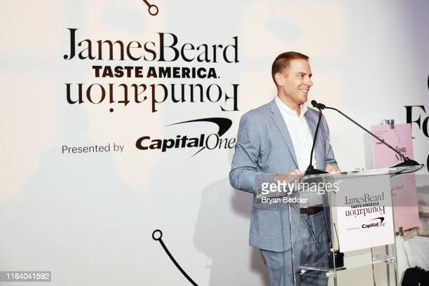 Kris Moon speaks onstage as The James Beard Foundation kicks off the 201920 Taste America presented by official banking and credit card...