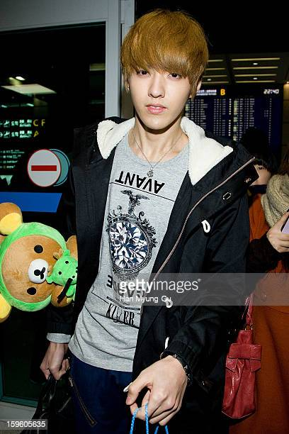 Kris of boy band EXOM is seen at Incheon Inaternational Airport on January 16 2013 in Incheon South Korea