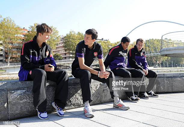 Kris Olsson Dejan Iliev Isaac Hayden and Austin Lipman of Arsenal U19 during a team walk in the morning before the NextGen Series match between...