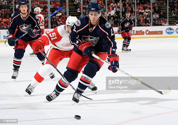 Kris Russel of the Columbus Blue Jackets skates to the puck during an NHL game against the Detroit Red Wings on November 9 2007 at Joe Louis Arena in...
