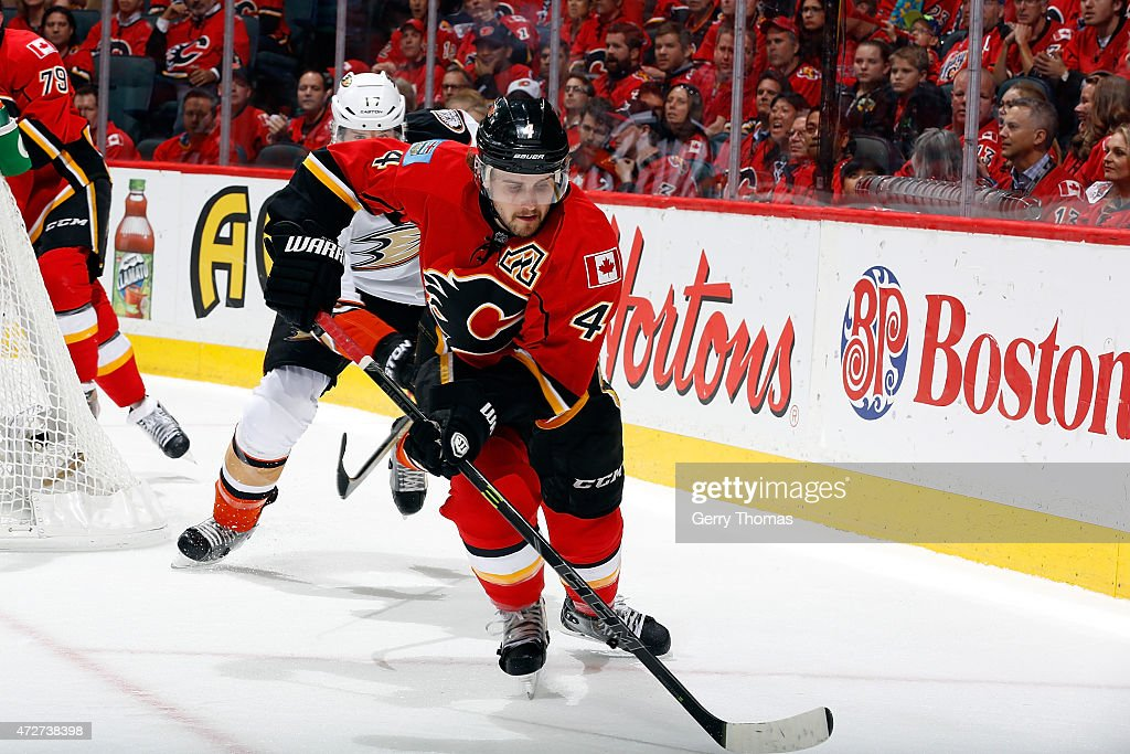 Kris Russell #4 of the Calgary Flames skates against the Anaheim Ducks at Scotiabank Saddledome for Game Four of the Western Quarterfinals during the 2015 NHL Stanley Cup Playoffs on May 8, 2015 in Calgary, Alberta, Canada.