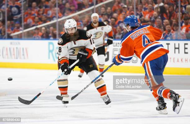 Kris Russell of the Edmonton Oilers shoots the puck past Patrick Eaves of the Anaheim Ducks in Game Three of the Western Conference Second Round...