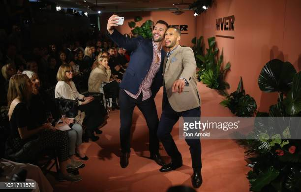 Kris Smith and Josh Gibson showcase designs by Rodd and Gunn during the Myer Spring Summer 18 Collections Launch on August 23, 2018 in Sydney,...