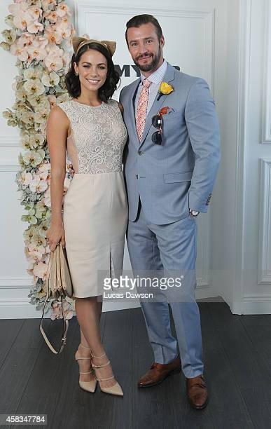 Kris Smith and Maddy King at the Myer Marquee on Melbourne Cup Day at Flemington Racecourse on November 4 2014 in Melbourne Australia