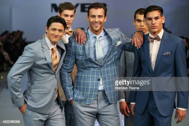 Kris Smith and models showcase designs by Dom Bagnato during the Myer Spring Summer 2014 Fashion Launch at Carriageworks on August 7, 2014 in Sydney,...