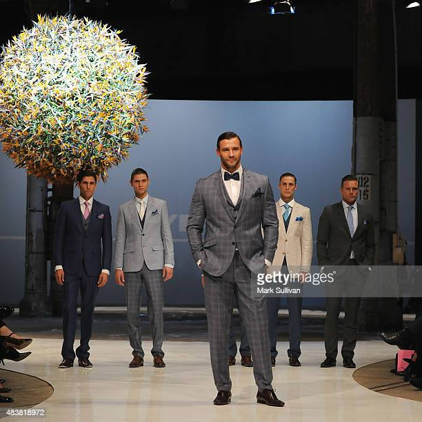 Kris Smith and models wearing Dom Bagnato during the Myer Spring 2015 Fashion Launch on August 13, 2015 in Sydney, Australia.