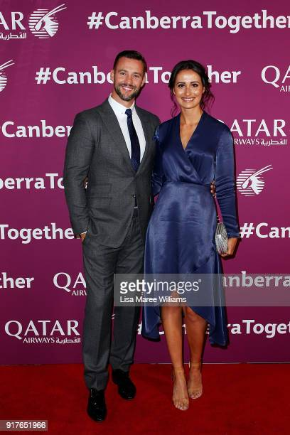 Kris Smith and Sara Boulazeris arrive at the Qatar Airways Canberra Launch gala dinner on February 13 2018 in Canberra Australia