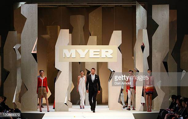Kris Smith showcases designs by Arthur Galan on the catwalk at the Myer Spring/Summer 2011 fashion launch on August 11, 2011 in Sydney, Australia.