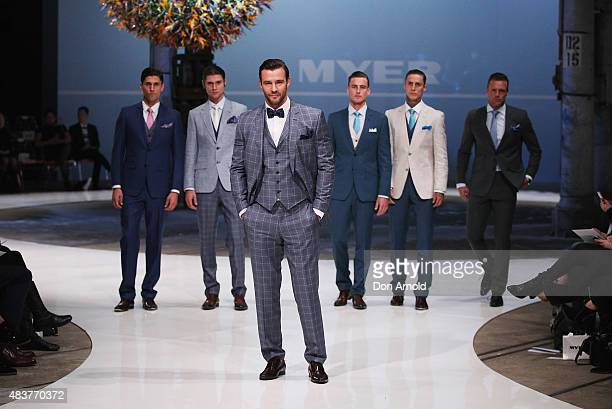 Kris Smith showcases designs by Dom Bagnato during rehearsal ahead of the Myer Spring 2015 Fashion Launch on August 13, 2015 in Sydney, Australia.