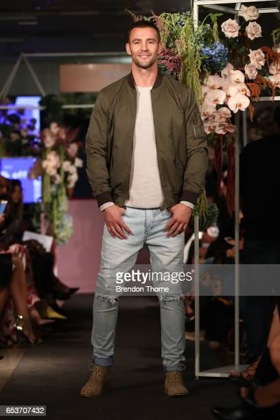 Kris Smith showcases designs by Dom Bagnato during the Myer Fashion Runway show on March 16, 2017 in Sydney, Australia.