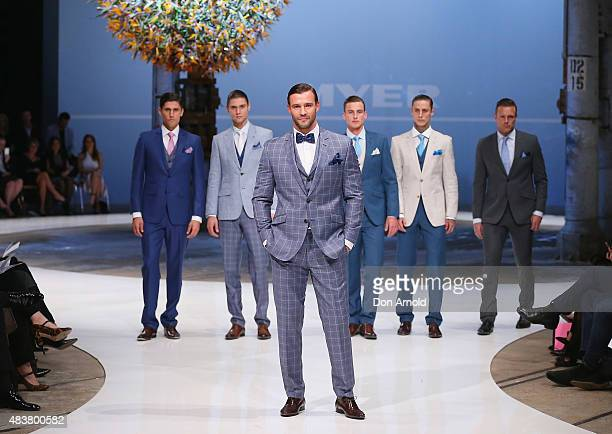 Kris Smith showcases designs by Dom Bagnato during the Myer Spring 2015 Fashion Launch on August 13, 2015 in Sydney, Australia.