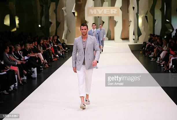 Kris Smith showcases designs by Marcs on the catwalk at the Myer Spring/Summer 2011 fashion launch on August 11, 2011 in Sydney, Australia.