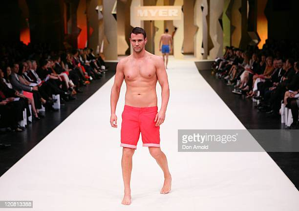 Kris Smith showcases designs on the catwalk at the Myer Spring/Summer 2011 fashion launch on August 11, 2011 in Sydney, Australia.