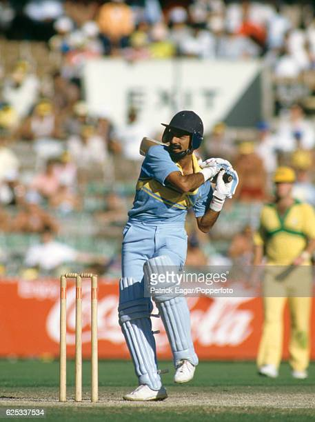 Kris Srikkanth batting for India during his innings of 93 not out in the Benson and Hedges World Championship of Cricket match between Australia and...