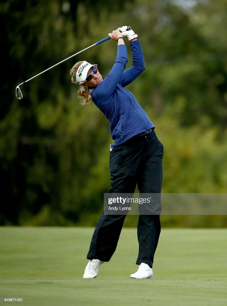 Kris Tamulis hits her second shot on the 8th hole during the first round of the Indy Women In Tech Championship-Presented By Guggenheim at the Brickyard Crossing Golf Course on September 7, 2017 in Indianapolis, Indiana.