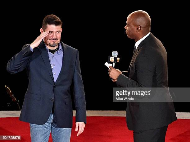 Kris 'Tanto' Paronto and TV personality Kevin Frazier attend the Dallas Premiere of the Paramount Pictures film '13 Hours The Secret Soldiers of...
