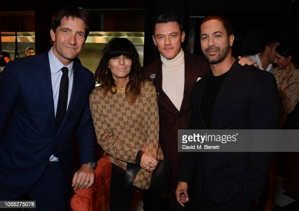 Kris Thykier Claudia Winkleman Luke Evans and Victor Turpin attend the GQ 30th anniversary party at SUSHISAMBA Covent Garden on October 29 2018 in...