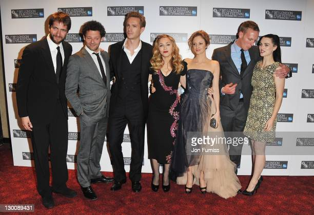 Kris Thykier, Richard Coyle, James D'Arcy, Madonna, Andrea Riseborough, Laurence Fox and Katie McGrath attend the screening of 'W.E.' at The 55th BFI...