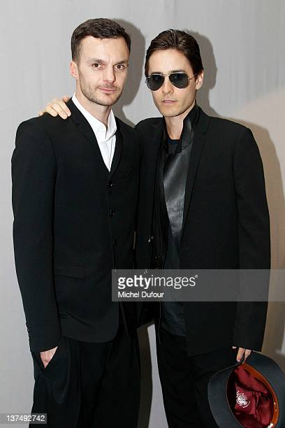 Kris Van Assche and Jared Leto posing after the Dior Homme Menswear Autumn/Winter 2013 show as part of Paris Fashion Week on January 21 2012 in Paris...