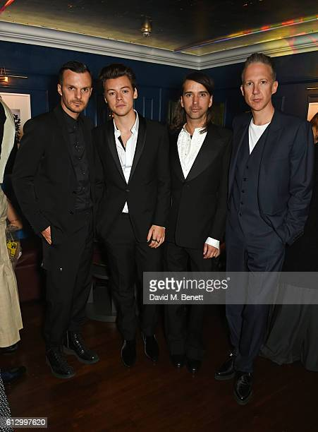 Kris Van Assche Harry Styles Alister Mackie and Jefferson Hack attend the Another Man A/W launch event hosted by Harry Styles Alister Mackie and Kris...