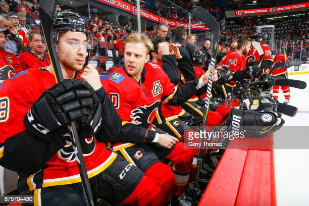 Kris Versteeg chats with Andrew Mangiapane in an NHL game against the St Louis Blues at the Scotiabank Saddledome on November 13 2017 in Calgary...