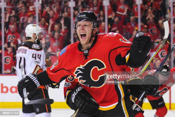 Kris Versteeg of the Calgary Flames celebrates after scoring against the Anaheim Ducks in Game Three of the Western Conference First Round during the...