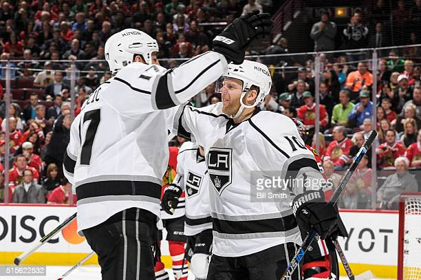 Kris Versteeg of the Los Angeles Kings celebrates after scoring in the first period of the NHL game against the Chicago Blackhawks at the United...