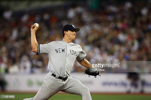 Kris Wilson of the New York Yankees pitches against the Toronto Blue Jays at Rogers Centre on July 23 2006 in Toronto Ontario Canada The Blue Jays...