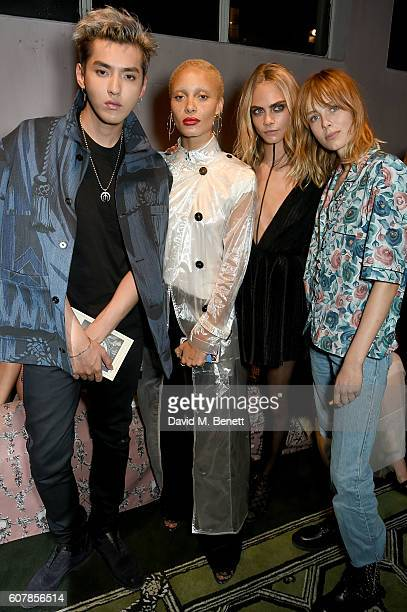 Kris Wu Adwoa Aboah Cara Delevingne and Edie Campbell wearing Burberry at the Burberry September 2016 show during London Fashion Week SS17 at Makers...