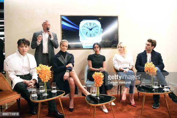 Kris Wu JeanChristophe Babin Jasmine Sanders Laura Harrier Caroline Vreeland and Jon Kortajarena attend Bvlgari press Breakfast At Baselworld 2017 on...
