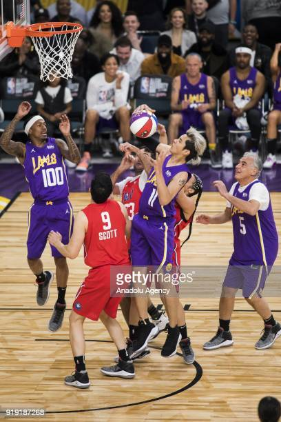 Kris Wu of Team Lakers gets the rebound during the the 2018 NBA AllStar Celebrity Game as part of AllStar Weekend at the Los Angeles Convention...