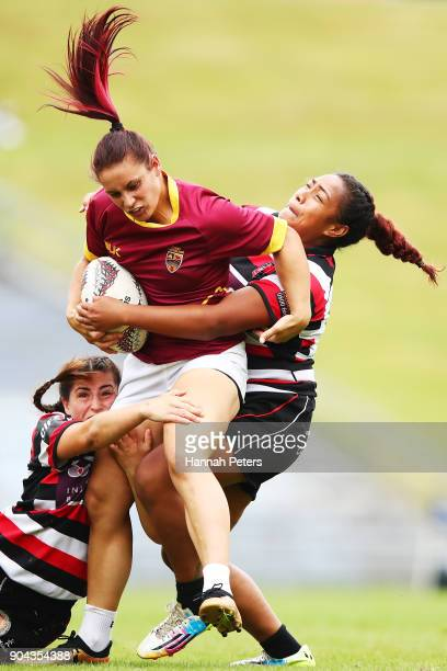 Krishanee Tamou of Southland charges forward during the Bayleys National Sevens match between Counties Manukau and Southland at Rotorua International...