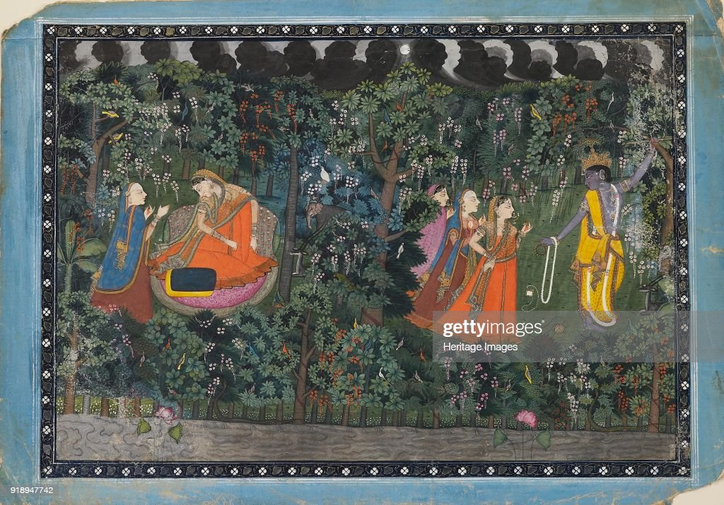 Krishna and Radha circa 1850 Dimensions height x width mount 406 x 559 cmheight x width page 292 x 418 cm maxheight x width painting with border 269..