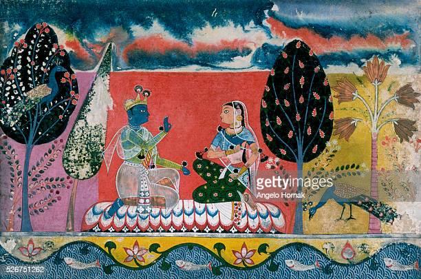 Krishna and Radha in Scene From the Poem Gita Govinda by Jayadeva
