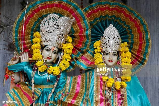 Krishna and Radha murthis in a Delhi hindu temple Delhi India
