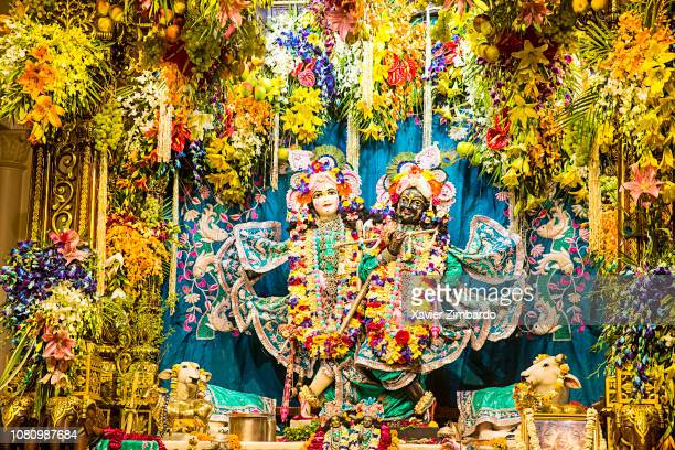 Krishna and Radha murthis with flowers in ISKCON Vrindavan temple on March 24 2016