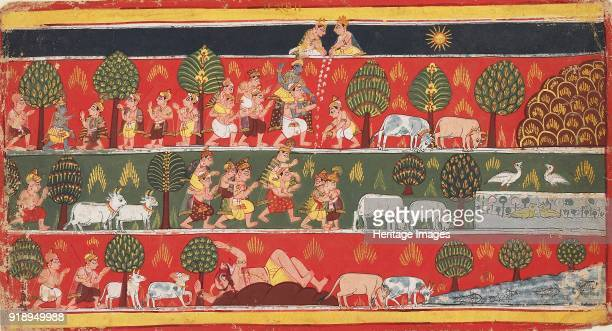 Krishna and the gopis circa 1720 Painting Page from a series of the Bhagavata Purana Dimensions height x width mount 401 x 276 cmheight x width page...