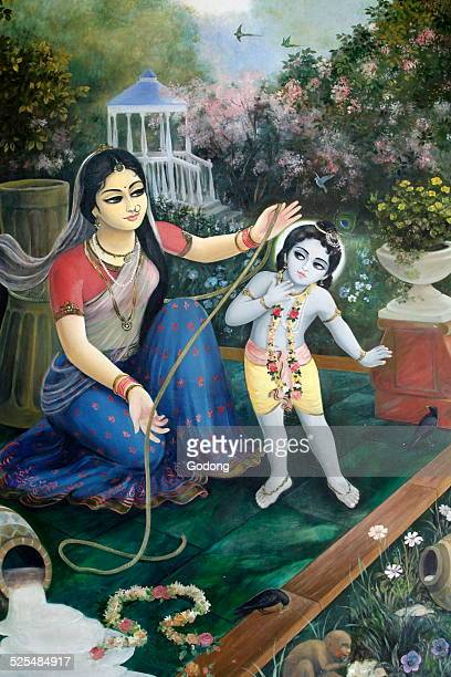 Krishna as Makhan Chor After spilling buttermilk he is caught by his foster mother Yashoda the wife of Nanda a cowherder in Vrindavan Most times he...