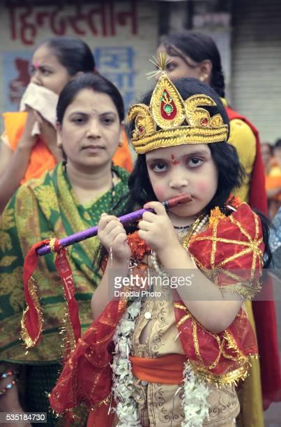 Krishna Janmashtami festival celebration on the streets of Jabalpur in Madhya Pradesh, India.
