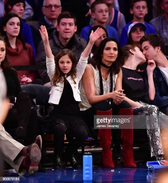 Krishna LakshmiDell and Padma Lakshmi attend the New York Knicks Vs San Antonio Spurs game at Madison Square Garden on January 2 2018 in New York City