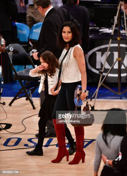 Krishna LakshmiDell and Padma Lakshmi attend the New York Knicks Vs San Antonio Spurs game at Madison Square Garden on January 2 2018 in New York City