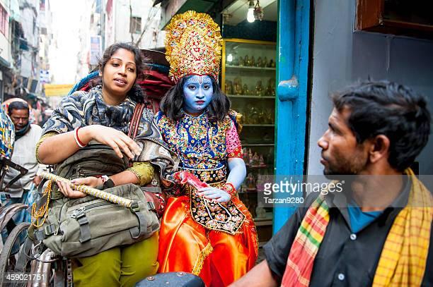 krishna on rickshaw, old dhaka, bangladesh - bangladesh photos stock photos and pictures