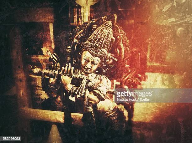 krishna statue in temple - lord krishna stock photos and pictures