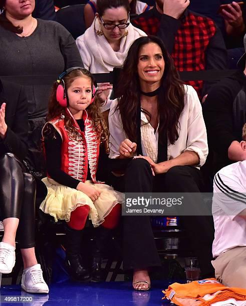 Krishna Thea LakshmiDell and Padma Lakshmi attend Philadelphia 76ers vs New York Knicks game at Madison Square Garden on December 2 2015 in New York...