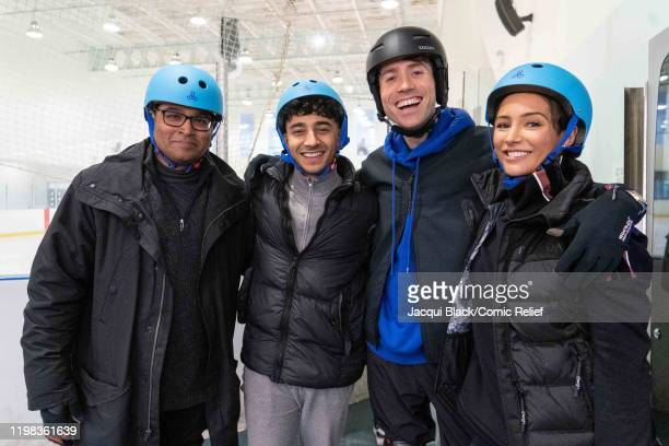 Krishnan GuruMurphy Karim Zeroual Nick Grimshaw and Frankie Bridge pose while training on an ice rink for Sport Relief On Thin Ice as the celebrities...