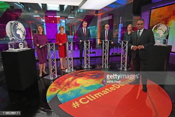 Krishnan GuruMurthy with Liberal Democrat leader Jo Swinson SNP leader Nicola Sturgeon Plaid Cymru leader Adam Price Labour Party leader Jeremy...