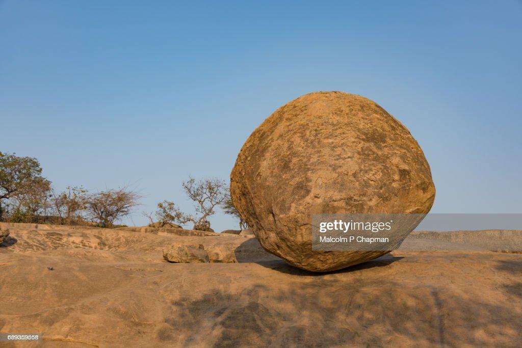 Krishna's Butter Ball, Mahabalipuram, Tamil Nadu, India : Stock Photo