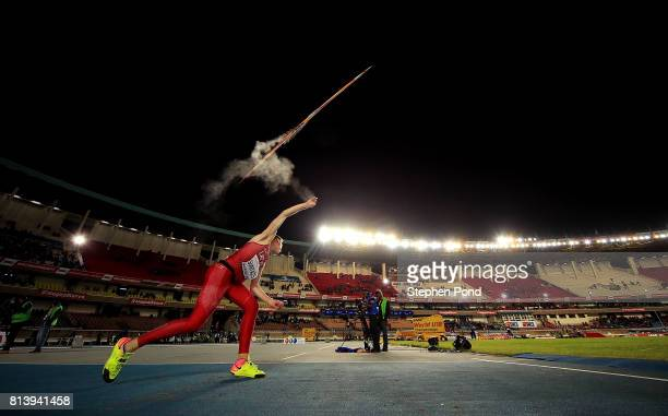 Krisjanis Suntazs of Latvia throws during the final of the boys javelin on day two of the IAAF U18 World Championships at the Kasarani Stadium on...