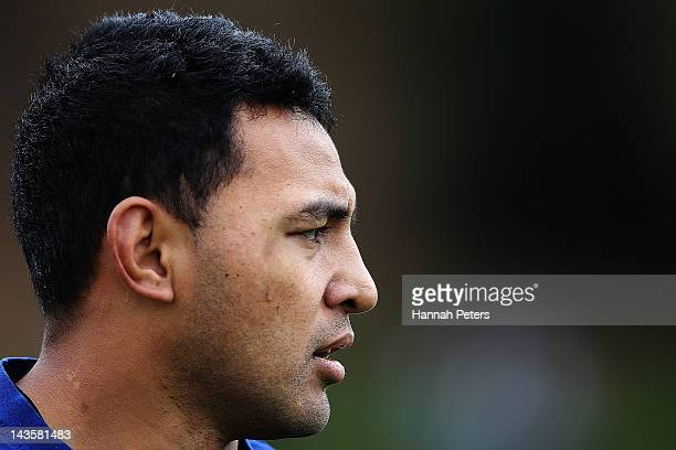Krisnan Inu looks on during a New Zealand Warriors NRL training session at Otahuhu College on April 30 2012 in Auckland New Zealand